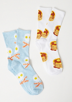 2-Pack Breakfast Print Crew Sock Set