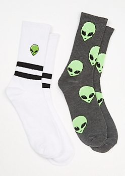 2-Pack Striped Alien Crew Sock Set