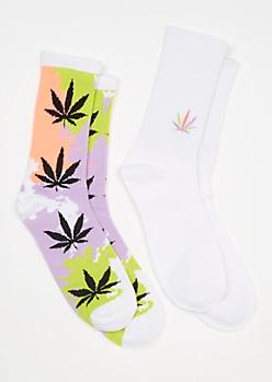 2-Pack Paint Weed Print Crew Sock Set