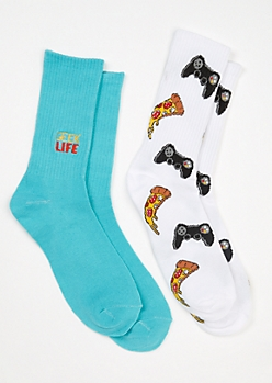 2-Pack Teal Geek Life Crew Sock Set