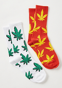 2-Pack Red Weed Print Crew Sock Set