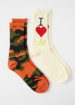 2-Pack Orange Camo Print I Heart Weed Crew Socks