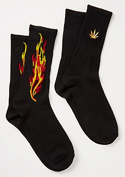 2-Pack Black Flame Weed Print Crew Socks Set