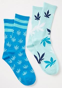 2-Pack Blue Striped Weed Print Crew Socks Set
