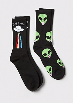 2-Pack Alien Trip Crew Socks