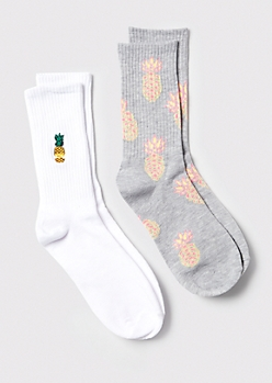 2-Pack Pineapple Embroidered Crew Socks