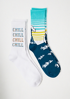 2-Pack Chill Out Waves Crew Sock Set