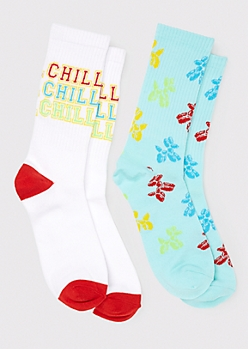 2-Pack Blue Chill Animal Balloon Crew Sock Set