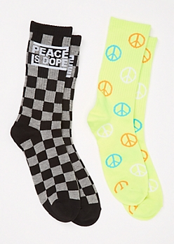 2-Pack Checkered Peace Print Crew Sock Set