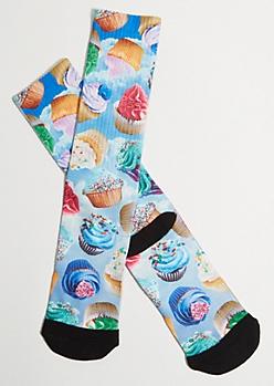 Blue Sky Cupcake Printed Premium Crew Socks