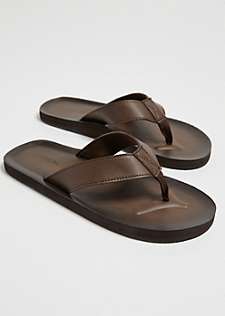 Brown Faux Leather Flip Flops