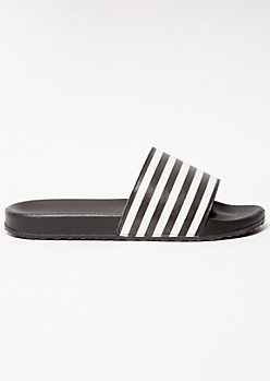 Black Striped Strap Slides