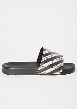 Black Striped Crackle Strap Slides