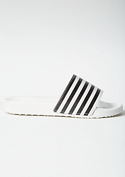 White Striped Strap Slides