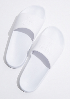 White Tonal Dripping Diamond Slides