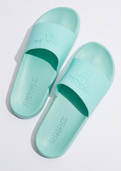Mint Tonal Dripping Diamond Slides