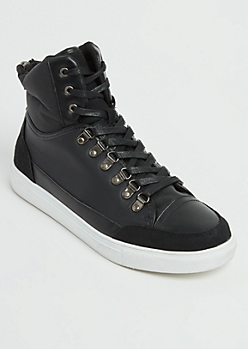 Black Color Block High Top Sneakers