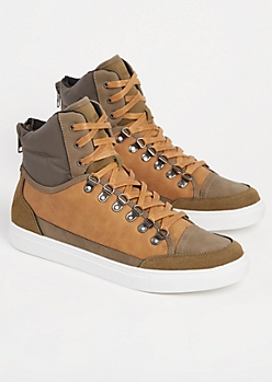 Olive Color Block High Top Sneakers