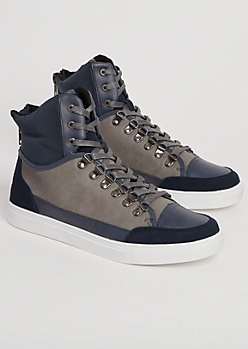 Navy Color Block High Top Sneakers