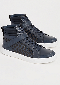 Navy Honeycomb High Top Sneakers
