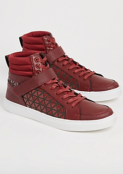 Burgundy Honeycomb High Top Sneakers