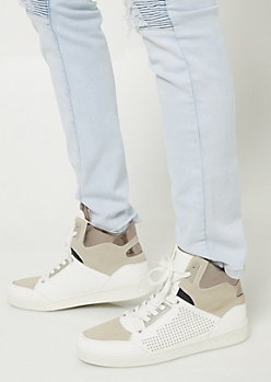 White Studded Faux Suede High Top Sneakers