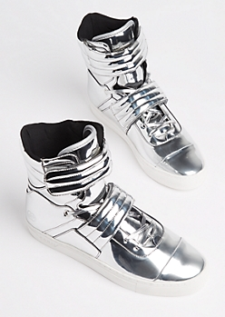 Liquid Silver Cylinder Sneakers