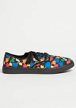 Black Paint Splattered Skater Sneakers