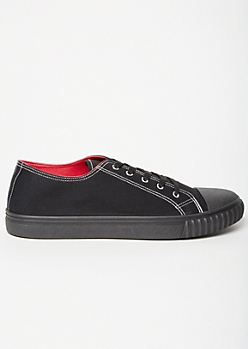 Black Contrast Stitch Low Top Canvas Sneakers