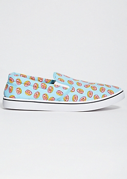 Light Blue Donut Print Slip On Sneakers