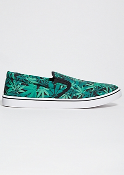 Green Weed Print Slip On Sneakers