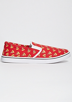 Red Pizza Print Slip On Sneakers