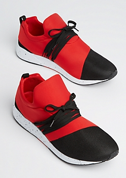 Red Color Block Mesh Trainers