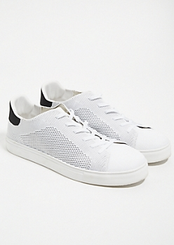 White Knit Low Top Sneakers