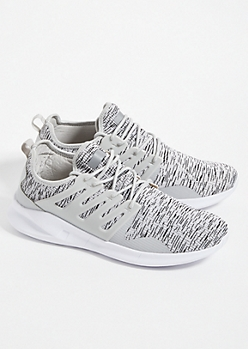 Heather Gray Marled Knit Lace Up Sneakers