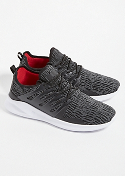 Black Marled Knit Lace Up Sneakers