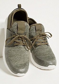 Olive Heathered Knit Back Strap Trainers