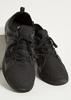 Black Heathered Knit Back Strap Trainers