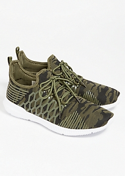 Camo Print Knit Lace Up Sneakers