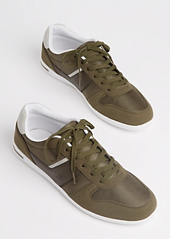 Olive Mixed Media Low Top Sneakers