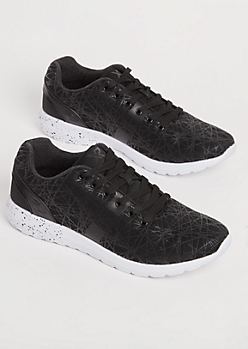 Black Shattered Low Top Sneakers