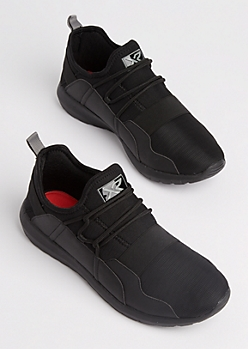 Black Strapped Low Top Trainers