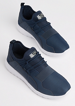Navy Strapped Low Top Trainers