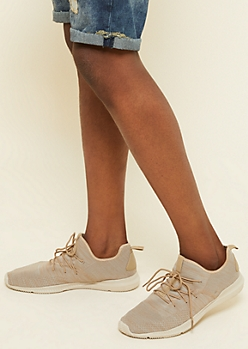 Sand Heathered Knit Lace Up Trainers