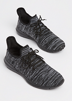 Black Marled Knit Low Top Sneakers