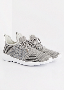 Gray Honeycomb Knit Sneakers
