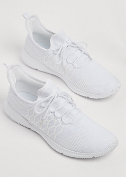 White Honeycomb Knit Sneakers