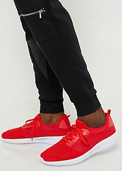 Red Lightweight Mesh Trainers