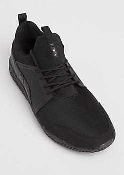 Black Mixed Media Trainers