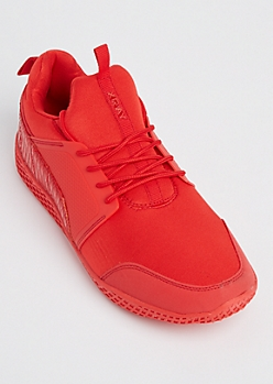 Red Mixed Media Trainers